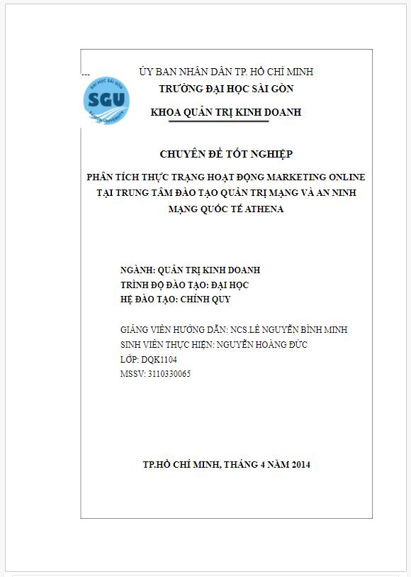 Bài báo cáo thực tập thực trạng Marketing online tại Trung tâm Athena
