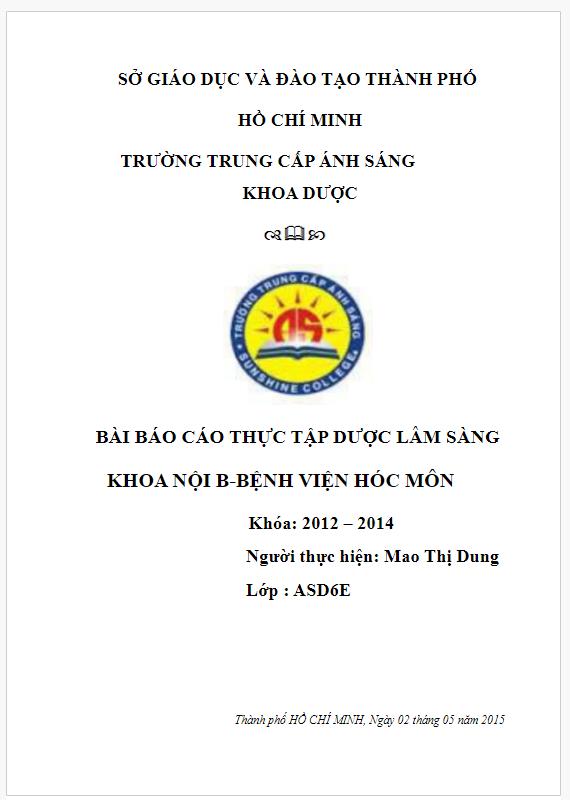 Báo cáo thực tập Dược lâm sàng khoa nội Bệnh viện Hóc Môn
