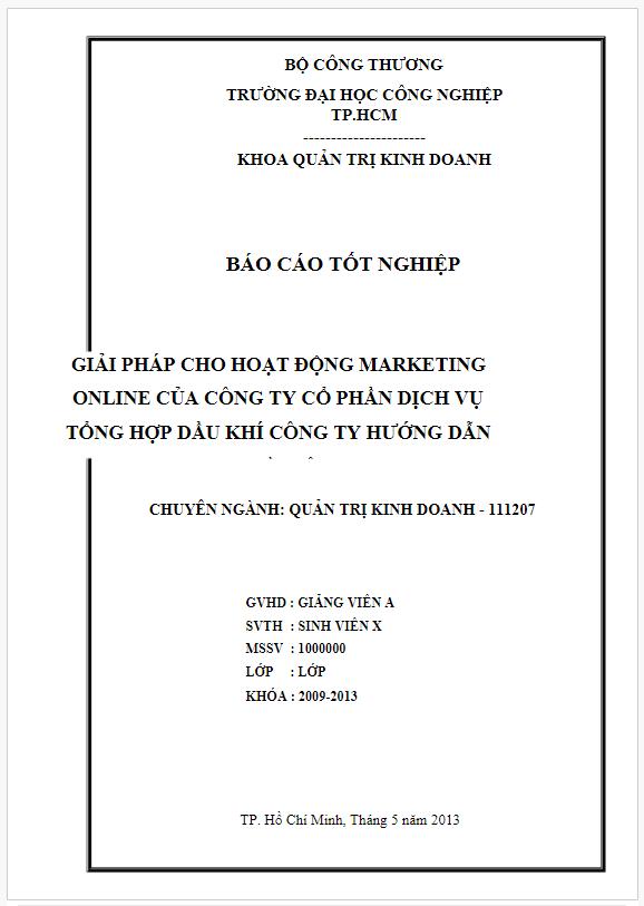 Báo cáo thực tập marketing online tại Công ty Cổ phần Dịch vụ tổng hợp dầu khí