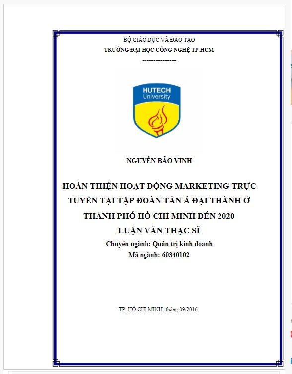 Báo cáo thực tập Hoàn thiện hoạt động Marketing online tại Tập đoàn Tân Á Đại Thành