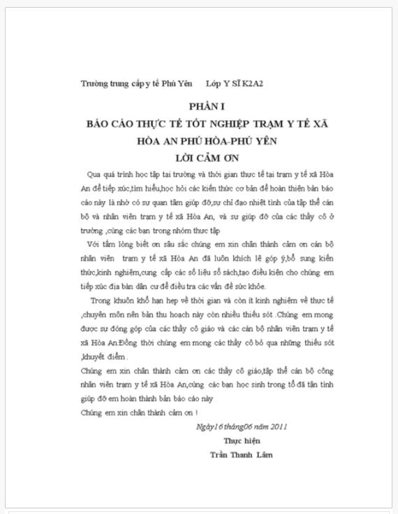 Báo cáo thực thực tập trạm y tế xã Hòa An (Phú Hòa, Phú Yên)