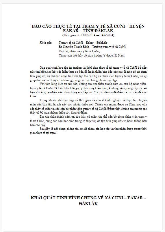 Báo cáo thực tế tại Trạm y tế xã CưNi
