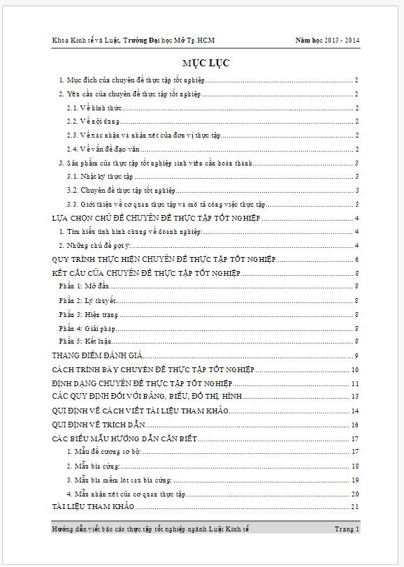 Hướng dẫn viết Báo cáo thực tập tốt nghiệp ngành Luật