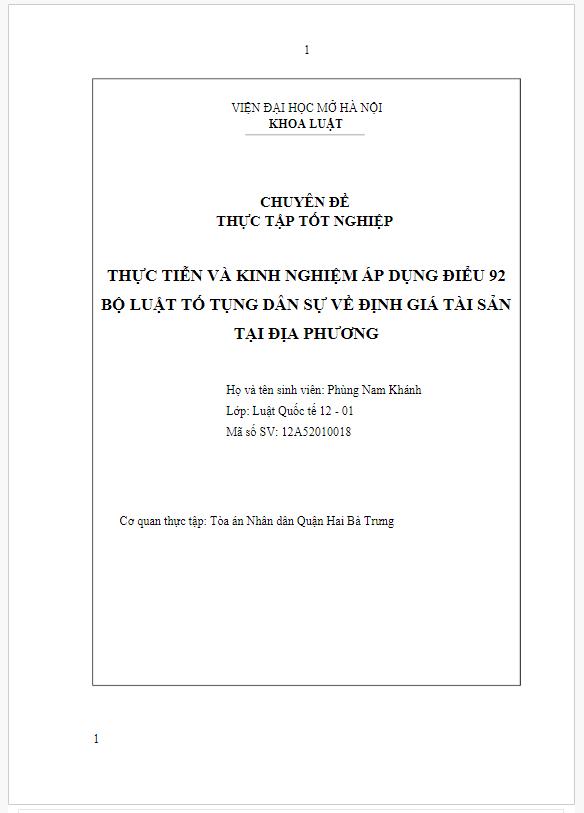 Báo cáo thực tập tốt nghiệp đại học luật: Thực tiễn và kinh nghiệm áp dụng Điều 92 bộ Luật tố tụng dân sự về định giá tài sản tại địa phương