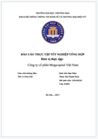 Báo cáo thực tập thương mại điện tử tại Công ty cổ phần Megacapital Việt Nam