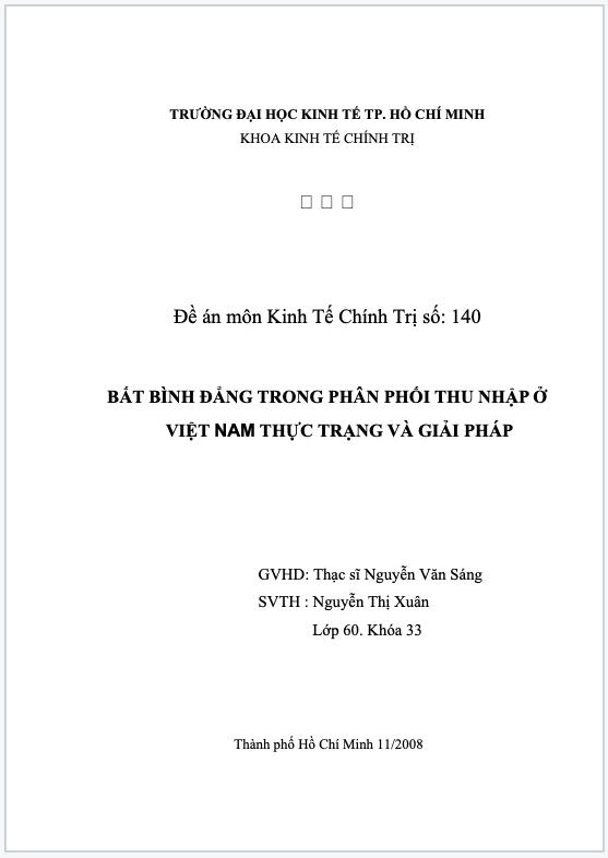 Thực trạng và giải pháp về bất bình đẳng trong phân phối thu nhập tại Việt Nam