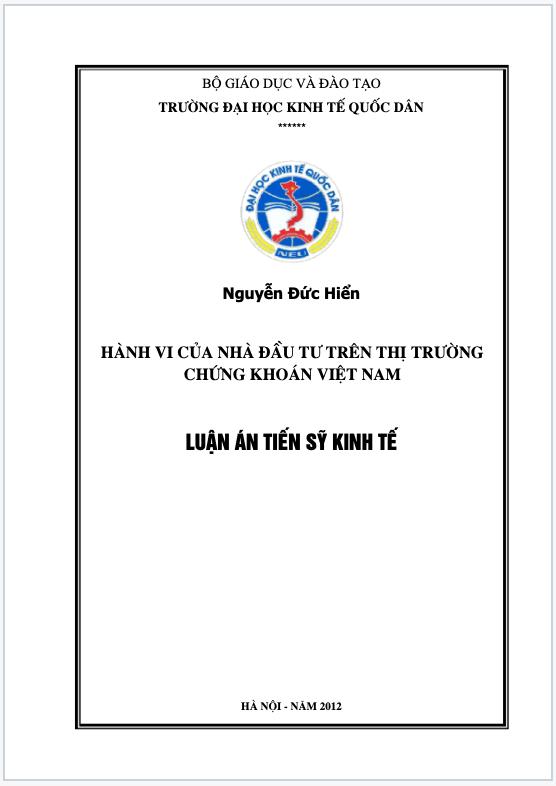 Hành vi của nhà đầu tư trên thị trường chứng khoán Việt Nam