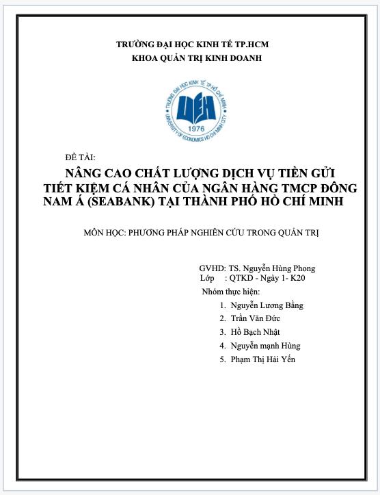 Tài liệu thực hiện khóa luận tốt nghiệp Ueh