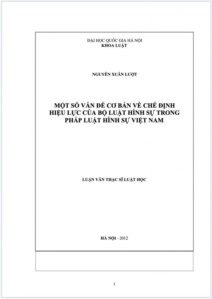 Một số vấn đề cơ bản về chế định hiệu lực của bộ luật hình sự Việt Nam