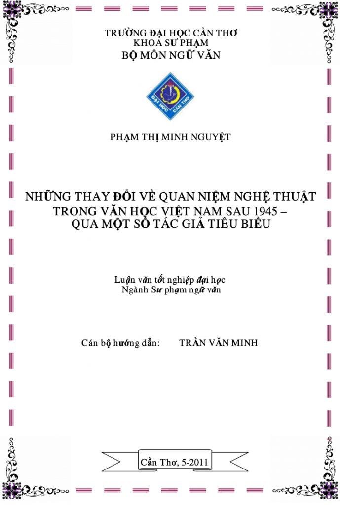 Những thay đổi về quan niệm nghệ thuật trong văn học Việt Nam sau năm 1945 qua một số tác giả tiêu biểu