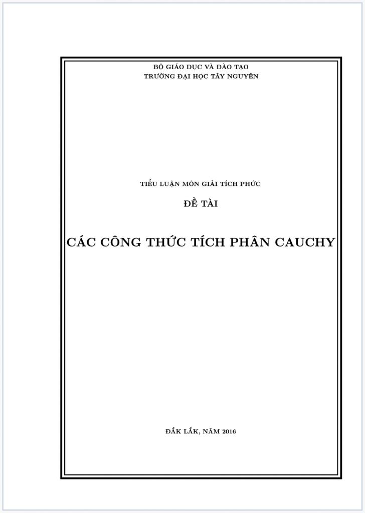 Bài tiểu luận các CT tích phân cauchy
