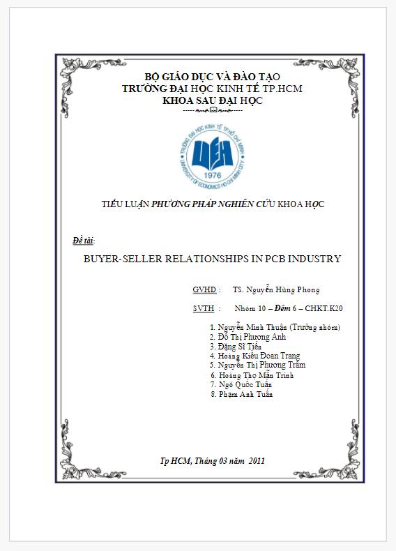 Tiểu luận phương pháp nghiên cứu khoa học- buyer seller relationships in pcb industry