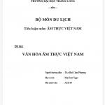 Tiểu luận về văn hóa ẩm thực Việt Nam