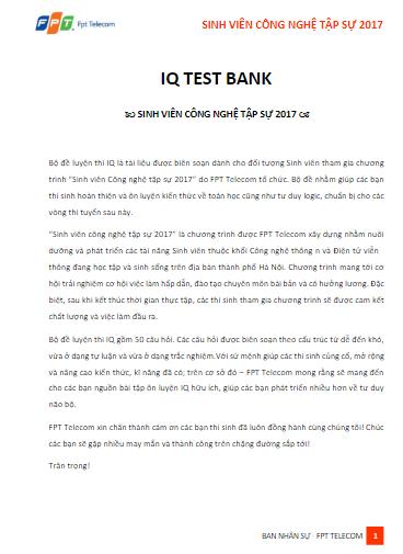 Đề thi test IQ (ĐỀ test IQ)