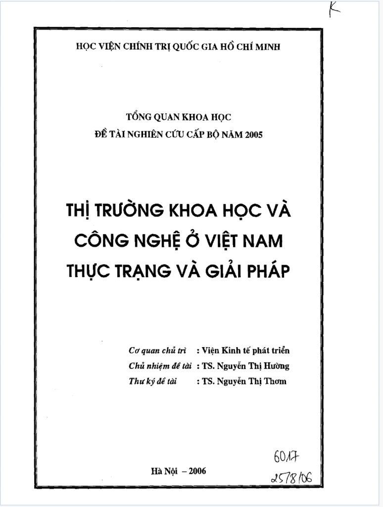 Thị trưởng khoa học công nghệ ở Việt Nam thực trạng và giải pháp