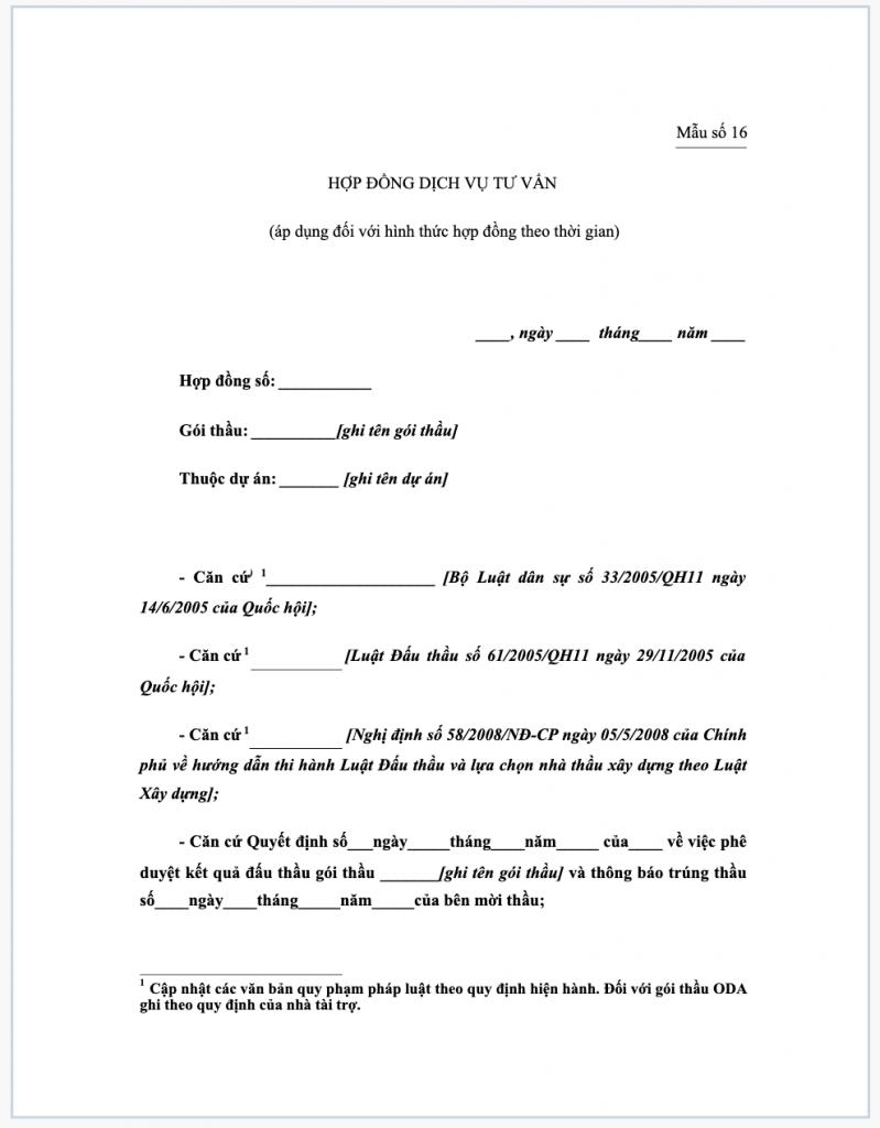 Tài liệu hợp đồng dịch vụ tư vấn áp dụng đối với hình thức hợp đồng theo thời gian