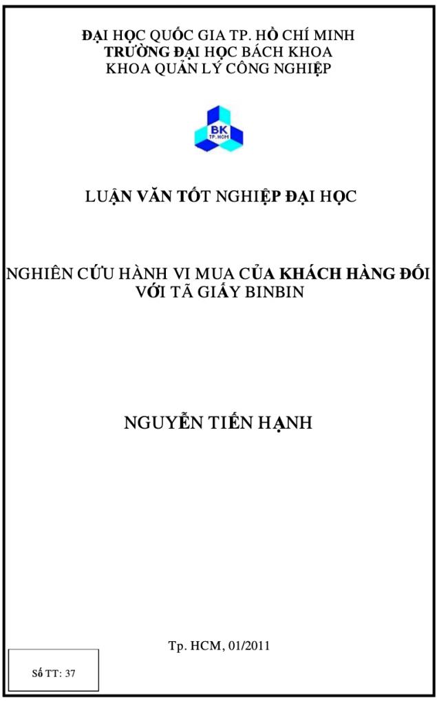 Nghiên cứu hành vi mua của khách hàng đối với tã giấy BinBin