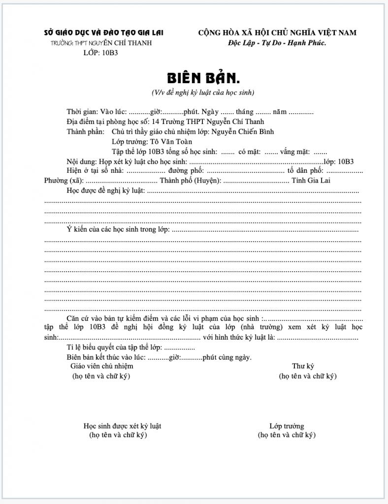 Biên bản đề nghị kỷ luật học sinh