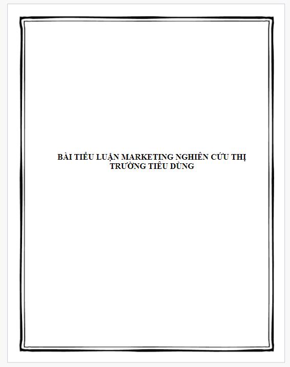 Bài tiểu luận marketing nghiên cứu thị trường tiêu dùng