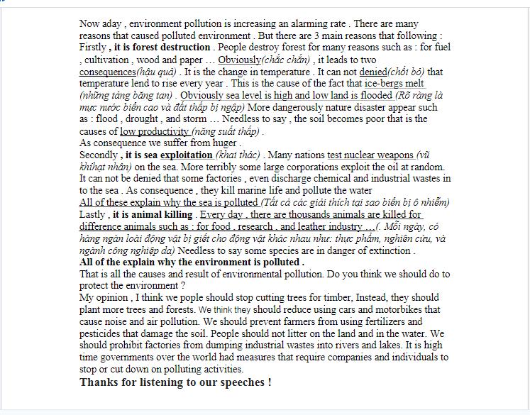Bài thuyết trình về môi trường bằng Tiếng Anh