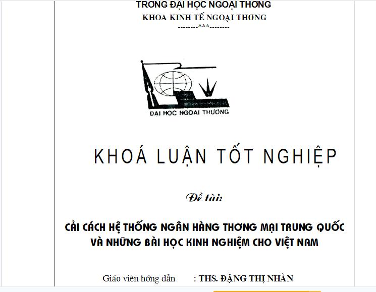 Cải cách hệ thống ngân hàng thương mại Trung Quốc và những bài học kinh nghiệm cho Việt Nam