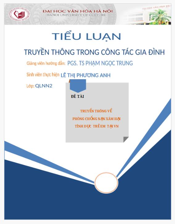 Tiểu luận Truyền thông về phòng chống nạn xâm hại tình dục trẻ em tại Việt Nam