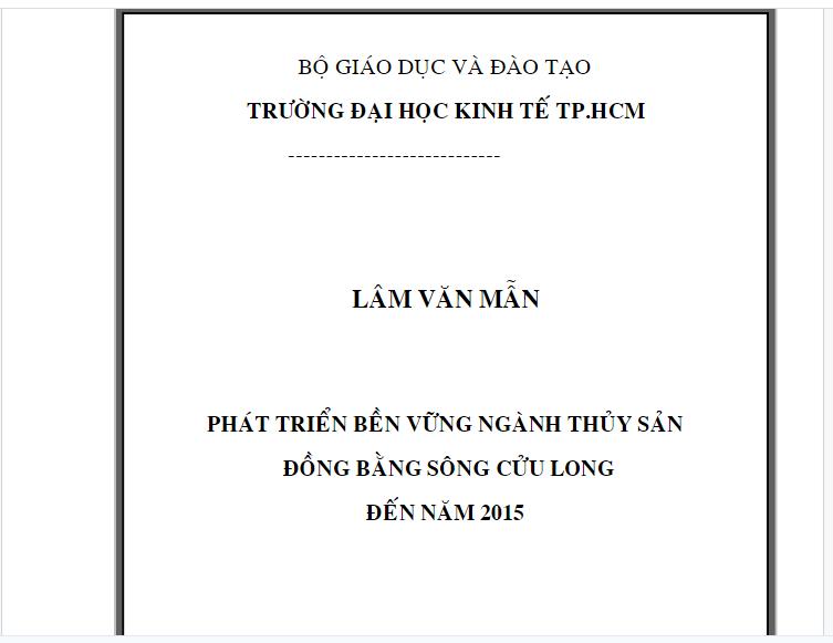 Phát triển bền vững ngành thủy sản vùng Đồng bằng sông Cửu Long đến năm 2015