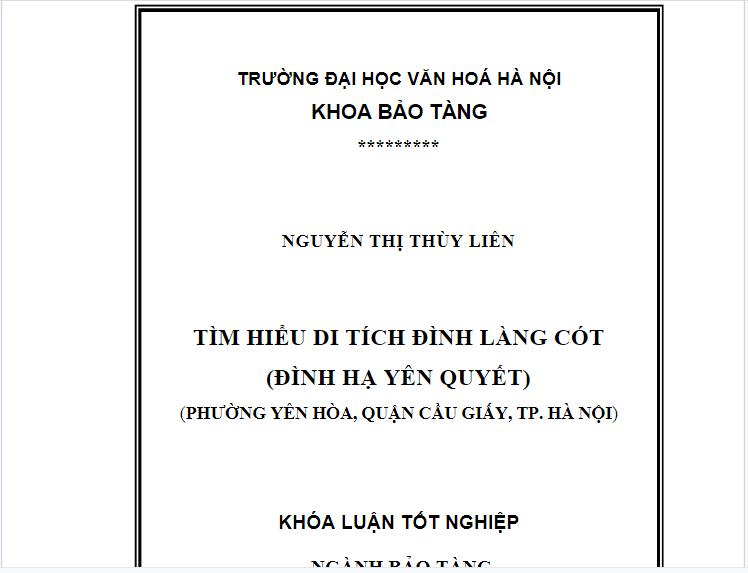 Tóm tắt khóa luận tốt nghiệp ngành bảo tàng học Tìm hiểu di tích đình làng Cót ( đình Hạ Yên Quyết)