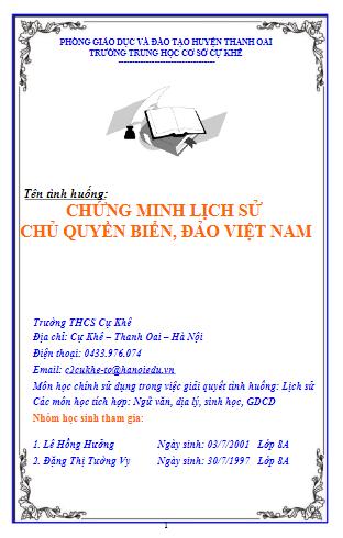 Vận dụng kiến thức liên môn giải quyết các tình huống thực tiễn dành cho học sinh trung học - tình huống chứng minh lịch sử chủ quyền biển, đảo Việt Nam
