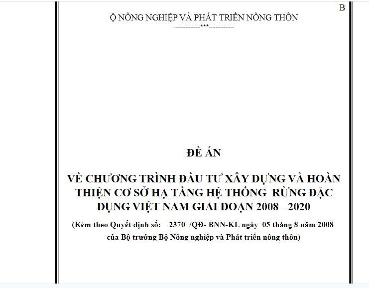 Chương trình đầu tư xây dựng và hoàn thiện cơ sở hạ tầng hệ thống rừng đặc dụng Việt Nam giai đoạn 2008-2020