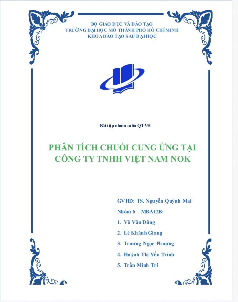 Phân tích chuỗi cung ứng của công ty Việt Nam NOK
