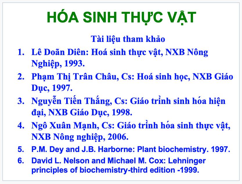 Tài liệu hóa sinh thực vật