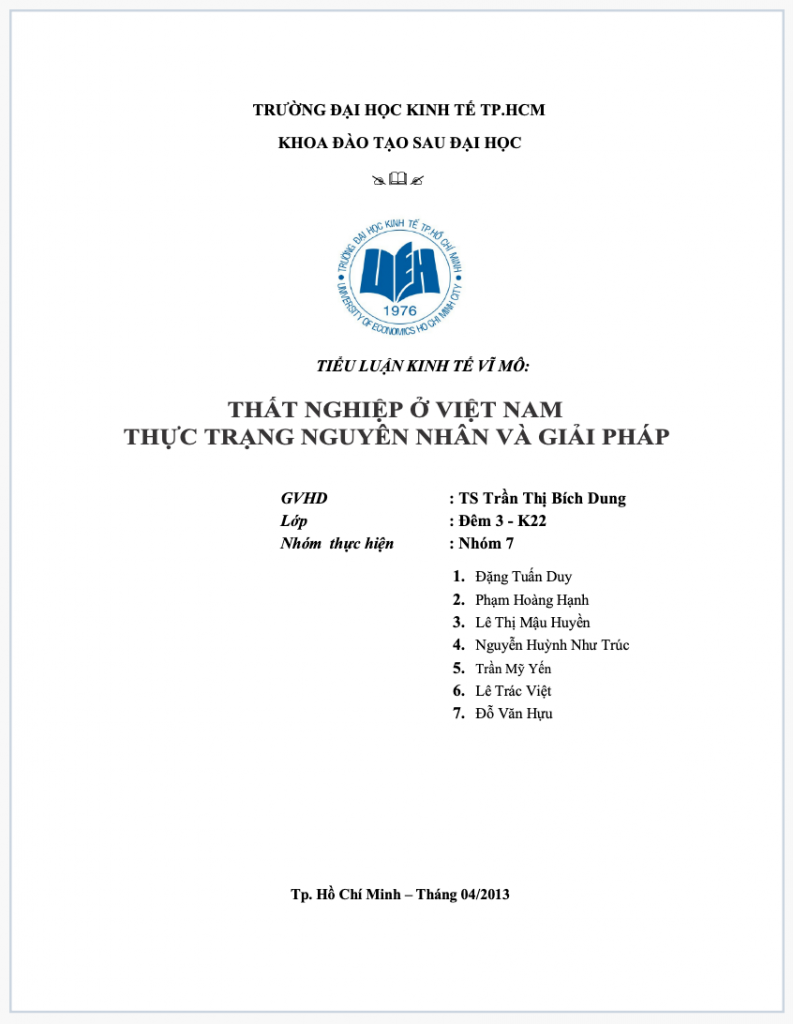 Tiểu luận thất nghiệp ở Việt Nam thực trạng nguyên nhân và giải pháp
