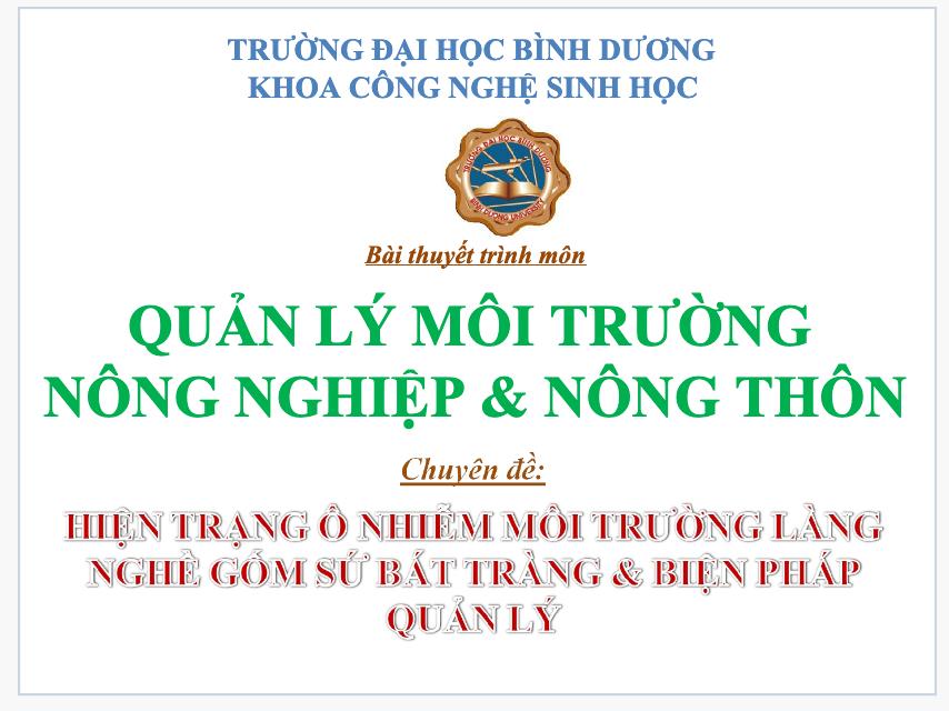 Hiện trạng ô nhiễm môi trường làng gốm sứ Bát Tràng và biện pháp quản lý