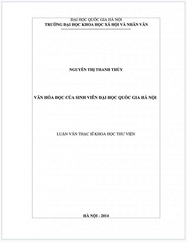 Luận văn thạc sĩ tìm hiểu về văn hoá đọc của SV tại trường Đại học quốc gia Hà Nội