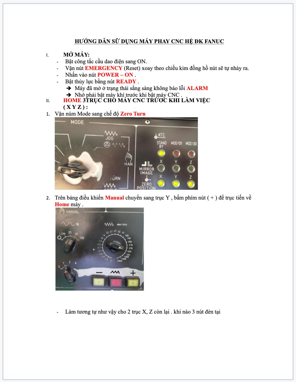 Hướng dẫn sử dụng PHAY CNC hệ FANUC